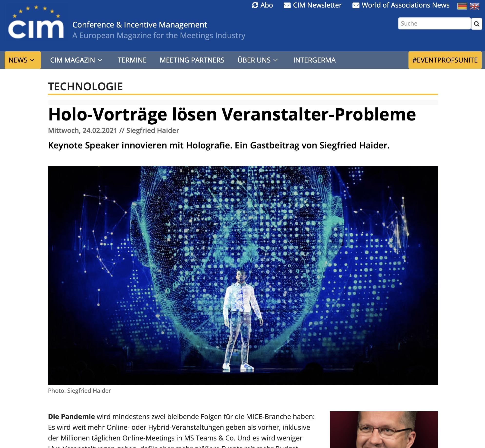 Hologramm Vortrag Speaker Redner experts4events